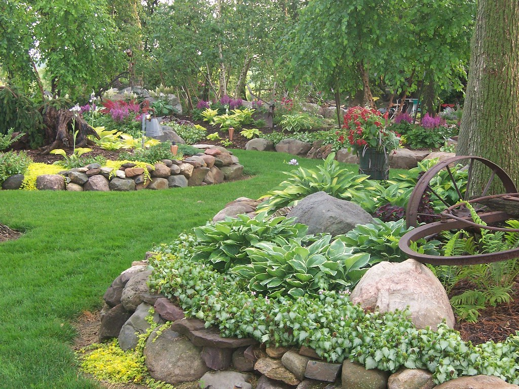 ... Rock 100_1666 Landscape Design, Landscaping,Gardens, Shade Garden,  Hostas, Perennials, Rock