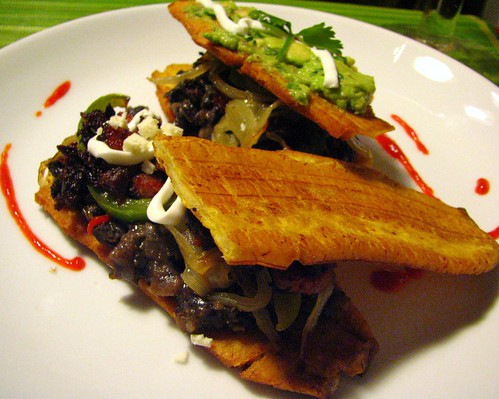 Patacones with Guacamole and Morcilla/Chorizo/Black Beans | by SeppySills