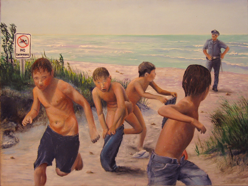 "Naturist boys ... ""No Swimming"" by Les Bryant 2009 