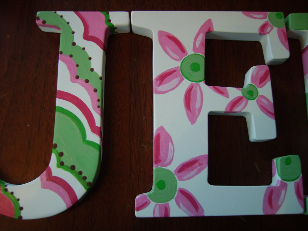 jenna hand painted wooden letters by julianabreeze