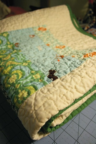 Blue&Green+Yellow baby quilt - all folded up | by alissahcarlton