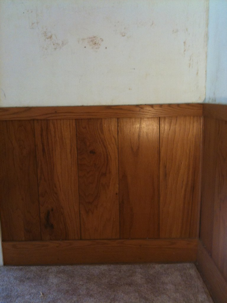 ... Chair Rail / Wood Paneling   Before | By Bella Sera