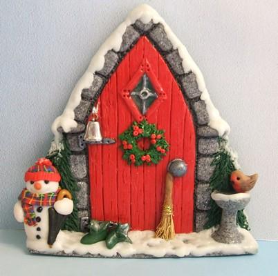 ... PatsParaphernalia Christmas Fairy Door with broom | by PatsParaphernalia & Christmas Fairy Door with broom | Handmade in polymer clay. \u2026 | Flickr