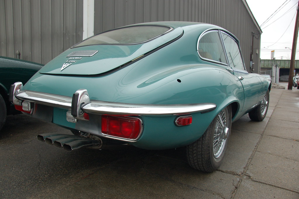 ... Old Jaguar E Type Sports Car: Back Fender U0026 Exhaust Pipe Array | By