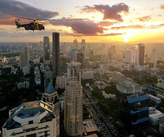 Navy Helicopter flying over Bangkok | by B℮n