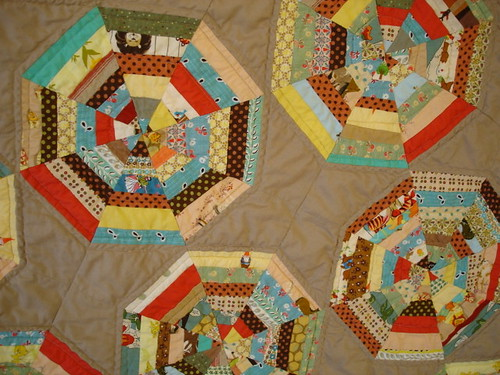 closeup of spiderweb baby quilt | by blempgorf