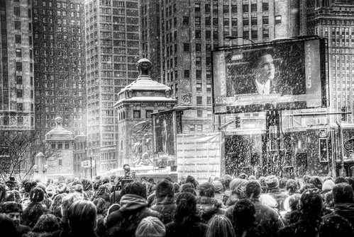 Barack Obama Inauguration jumbotron in Chicago: 7 | by spudart