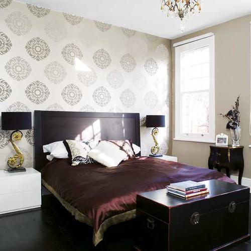 Modern Wallpaper: Asian-inspired Bedroom + Luxe Silk Duvet