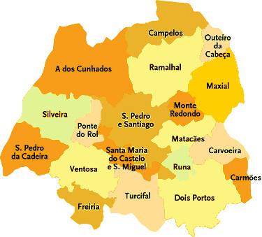 mapa freguesias torres vedras Concelho de Torres Vedras | Mapa das freguesias | Jorge Bastos  mapa freguesias torres vedras