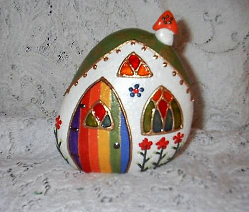 Fairy house painted river rock front i made dozens of - Painting rocks for garden what kind of paint ...