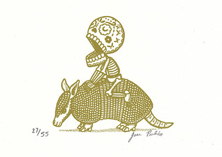 Calavera and Armadillo Gocco Print | by misnopalesart