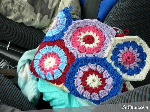 Crocheting Hexagons in the Car | by :Salihan