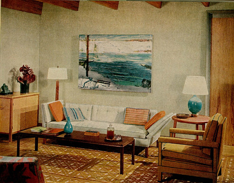 cool blue brown living room | Blue + brown 1960s living room: Warm + cool tones + George ...