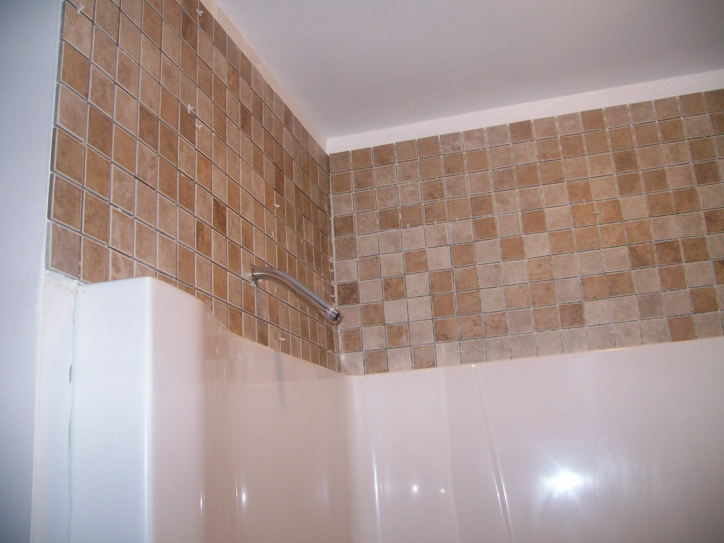 Tile above the shower | I have fretted most the winter about… | Flickr