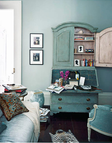martha stewart living room.  Blue living room Martha Stewart Grisaille painted antique secretary by SarahKaron ant Flickr