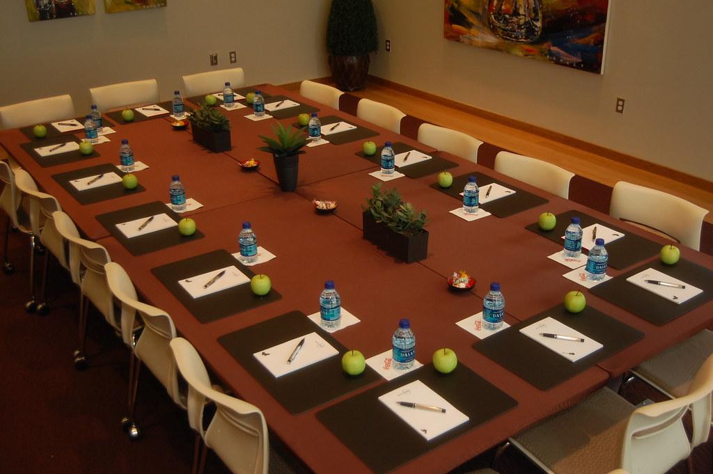 BCS Conference Table Setup For Guests Bottle Cap Suite Flickr - Conference table setup