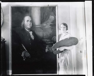 Countess Maria Zichy, painter, 1893-1962, standing beside portrait of Benjamin Franklin | by Smithsonian Institution