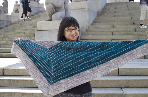 this shawl uses equal amounts of each color | by mintyfreshflavor