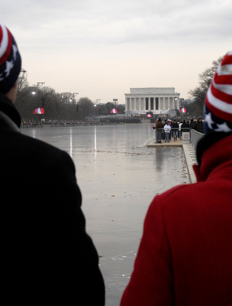 Patriotic Hats   Frozen reflecting pond in front of Lincoln