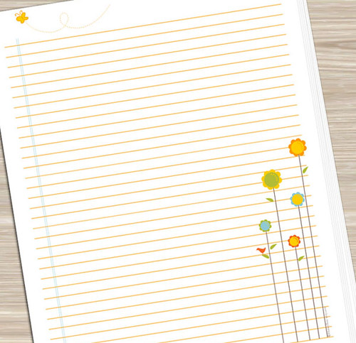 ... Printable Notebook Paper   Flowers | By HoneyBooArt  Diary Paper Printable