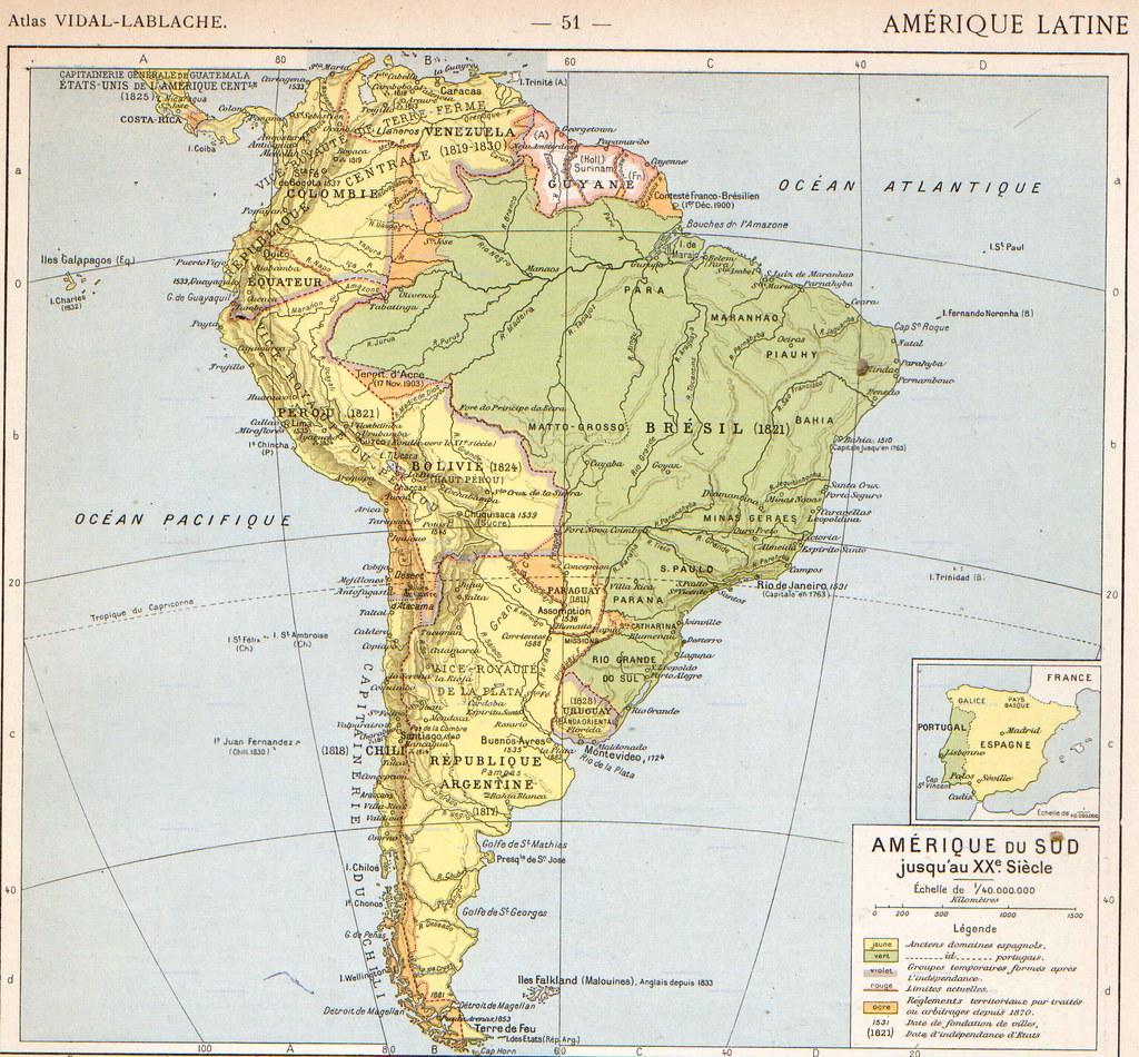Mapa histórico de América del Sur (1912) | (36) By Vidal Lab… | Flickr