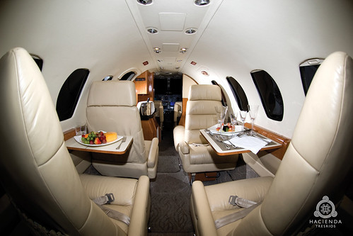Interior of our private jet in the Riviera Maya | by Hacienda Tres Rios