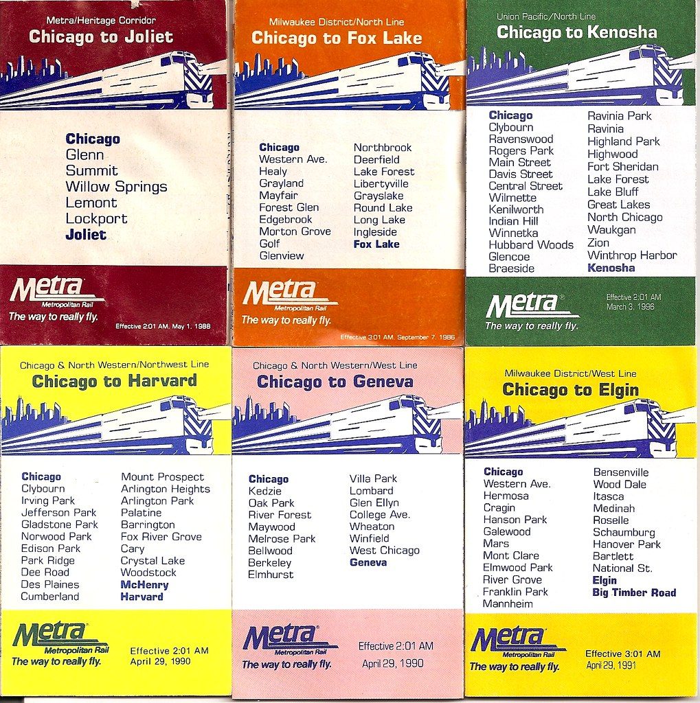 cute little metra schedules, 1986-1996 | they still give the… | flickr