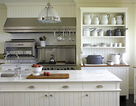 Popular Farmhouse Style Kitchen With White Marble Wainscoting And Industrial Holophane Pendant Designed