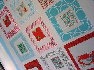Red & Aqua Quilt top - close up | by alissahcarlton