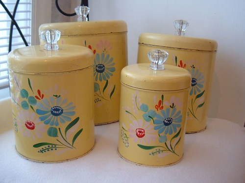 Ransburg handpainted toleware canisters | by Im So Vintage