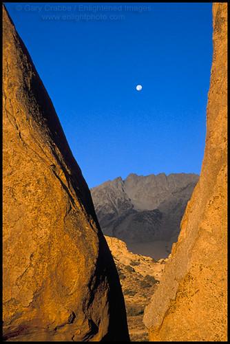Moonset Over Basin Mountain At Sunrise Eastern Sierra Ca