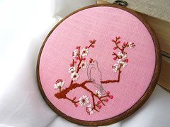 Nightingale in Cherry Blossoms wall art in hoop frames | by hareanddrum