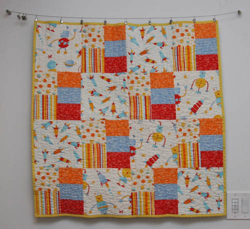 Rocket robot baby quilt the fabric is all from robots by for Robot quilt fabric
