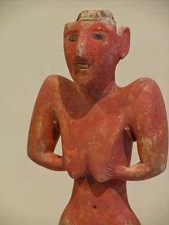 Neolithic stone figure of a woman Tell Fakhariyah Syria Gypsum with bitumen and stone inlays Pre-pottery Neolithic B (9000 - 7000 BCE) | by mharrsch
