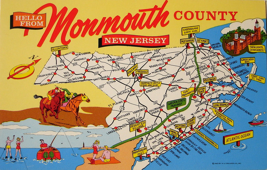 Monmouth County NJ map postcard Back text GREETINGS FROM Flickr