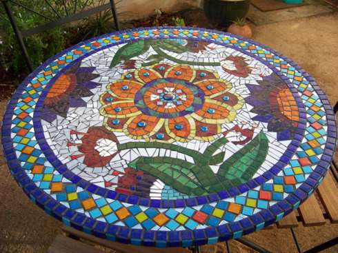 Mosaic Table 1 Square Metre Round Table Mosaic Done