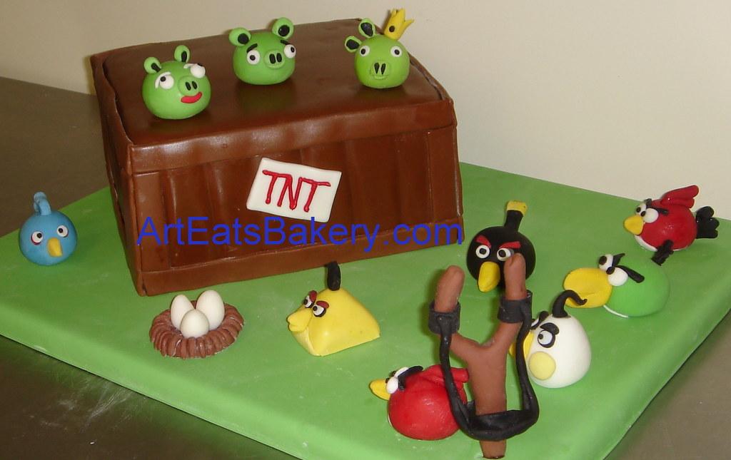 Angry Birds custom designed fondant birthday cake with TNT Flickr