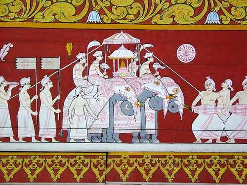 Temple Wall Panels : Painted wall panel temple of the tooth kandy sri lanka