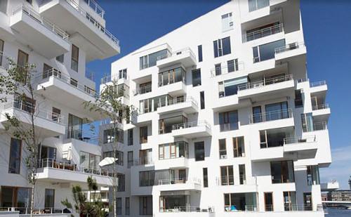 01 modern harbor apartment design facade look exterior for Modern flats exterior design
