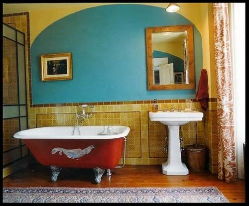 Colorful Bathroom: Red Tub + Turquoise + Gold