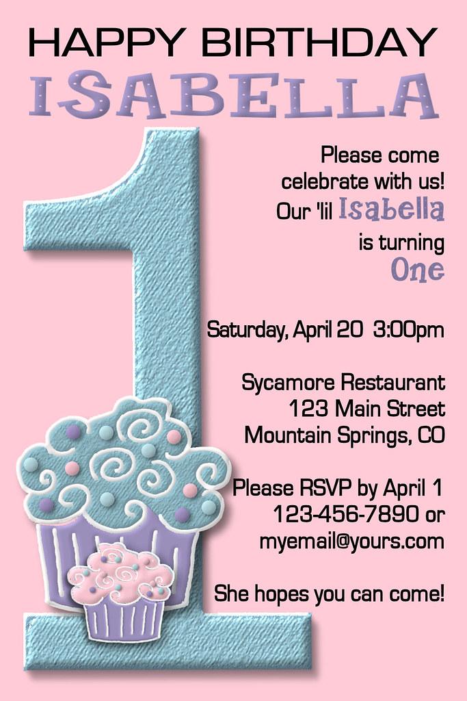 First 1st Birthday Invitation Girl Boy 2nd blue green pink…   Flickr
