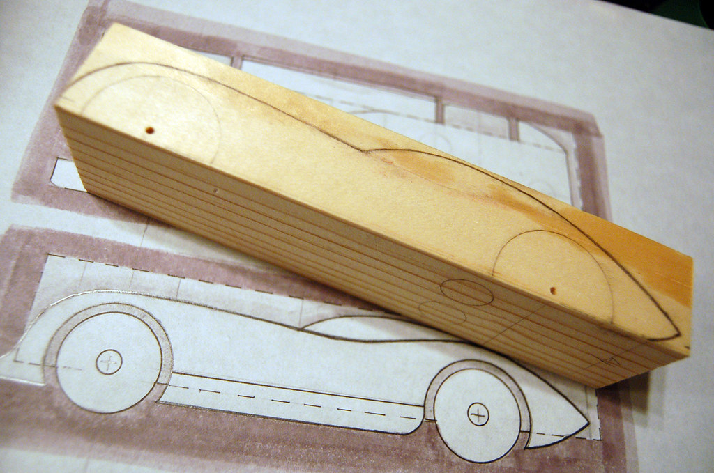 2009 Pinewood Derby Car 1 Step 2 tracing the sketch on – Pinewood Derby Template