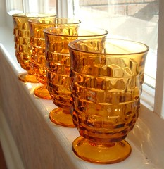 AMBER pressed glass footed juice glasses...set of 4 | by Im So Vintage