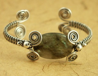 Labradorite Sterling Wire Wrapped Cuff Bracelet | by MaryTucker