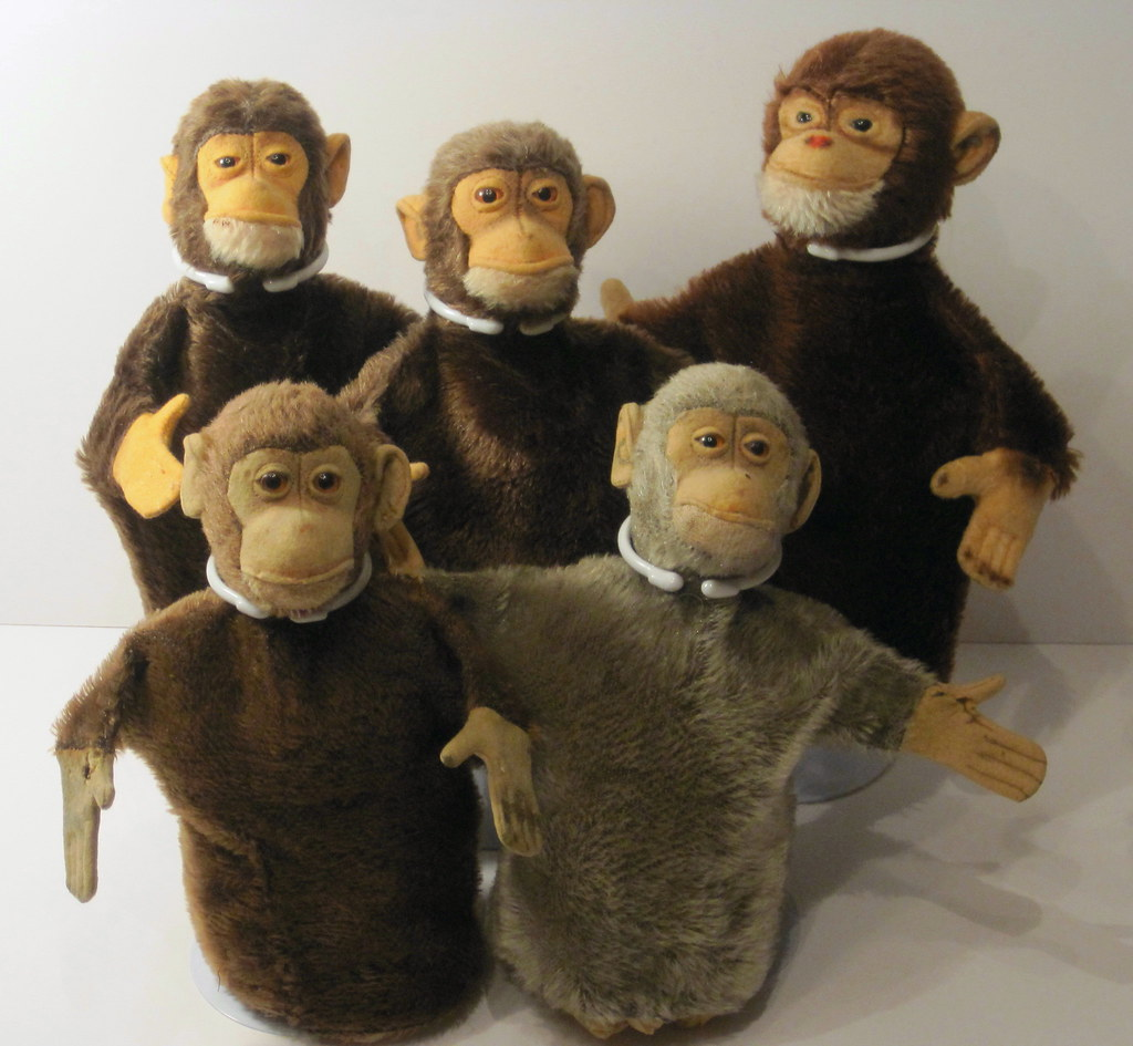 a collection of vintage steiff jocko monkey puppets flickr