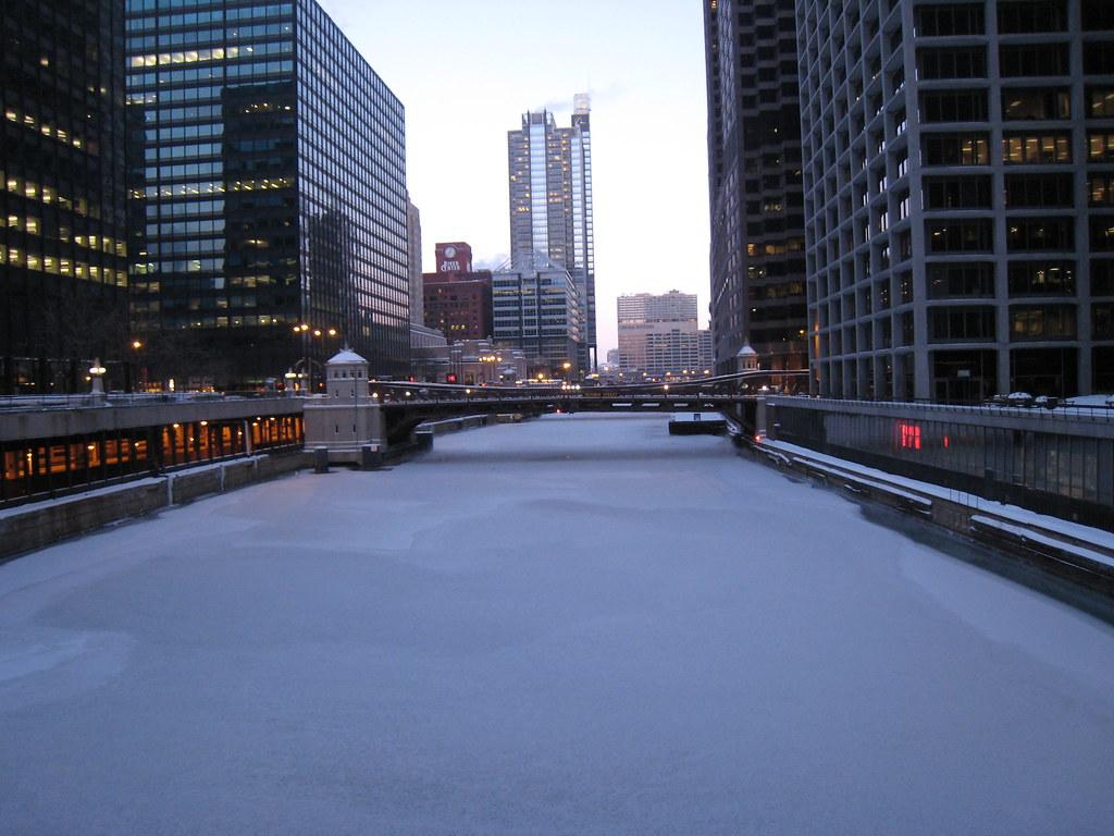 Image result for frozen chicago river