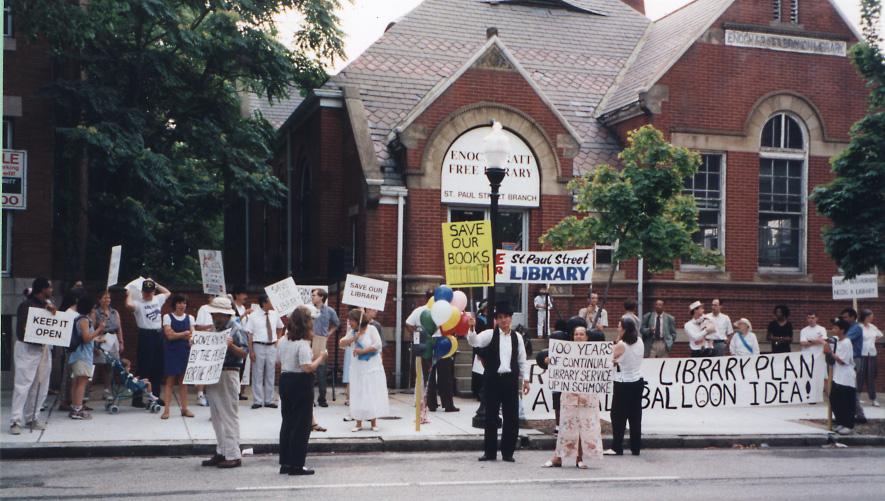 Community Residents Protest Closure of Pratt Branch No. 6, 1997