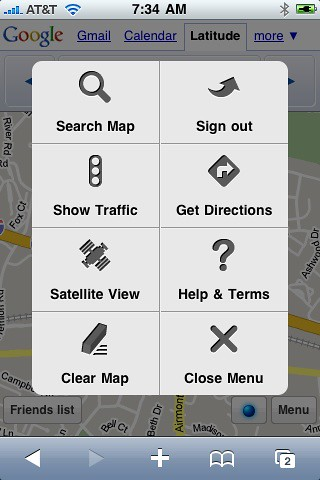 Menu for Google Latitude For iPhone | by rustybrick