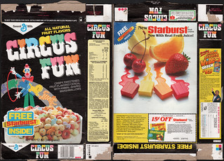 General Mills - Circus Fun - Free Starburst candy inside - cereal box - 1988 | by JasonLiebig
