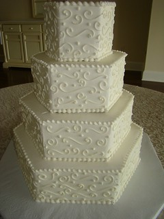 hexagon wedding cakes hexagon scroll wedding cake david levy flickr 15216